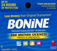 Bonine Motion Anti-Sickness Tablets Travel Nausea Chewable Raspberry Fla... - $13.02