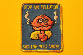 Vintage 70's Stop Air Pollution Swallow Your Smoke Hat Vest Jacket Cycle... - $6.99