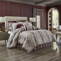 New J. Queen New York Gianna 4 Piece Comforter Set Burgundy Grey Variety Sizes - $252.64+