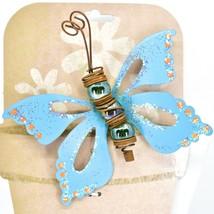 Blue Glitter Butterfly Metal & Glass Ball Garden Pot Sticker Decoration image 2