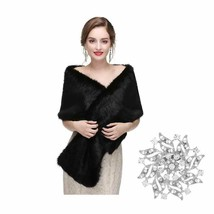 Yfe Women's Faux Fur Wraps Long Wedding Fur Shawl 1920s Sleeveless Brida... - $53.54+