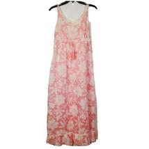 Vintage Regence French Long Semi Sheer Pink Floral Ruffle Sleeveless Nig... - $40.69