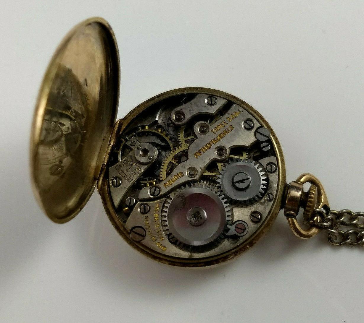 vtg WADSWORTH RELGIS HELBROS W & CO 15j 10k GOLD FILLED POCKET WATCH Swiss rare image 11