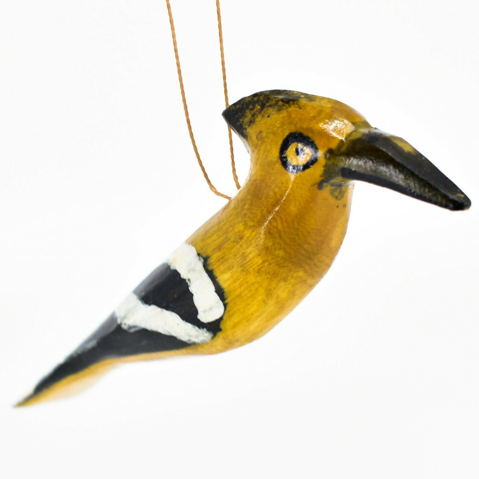 Hand Carved Painted Jacaranda Wood Orange Black Bird Holiday Ornament Made Kenya