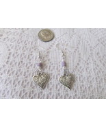 Handcrafted Pierced Earrings - Solid Filigree Hearts And Purple Beads - $5.00