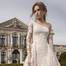 Luxury One Shoulder Mermaid Wedding Dress Detachable Train Long Sleeves Lace App image 2