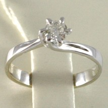 WHITE GOLD RING 750 18K, SOLITAIRE, STEM CRISS CROSSED, DIAMOND CARAT 0.32 image 2