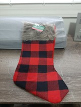 Christmas House Red and Black Plaid Christmas Stocking, With Fur 14 in. NEW - $13.81