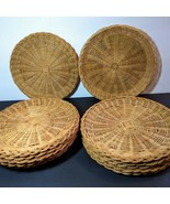 Lot of 13 Bamboo Wicker Rattan Paper Plate Holders Brown Excellent Condi... - $28.71