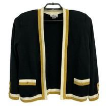 Vintage Mita Women's Black Cardigan Sweater Gold Button Sz 10- Made in t... - $45.06