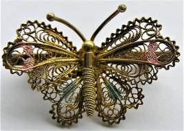 Vintage Cannetille Filigree Enamel Butterfly Pin 800 Silver Brooch  - $14.99