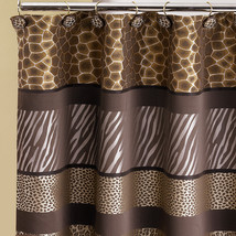 Popular Bath Safari Stripe 70 x 72 Bathroom Fabric Shower Curtain & Hook... - $35.99