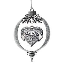 Inspired Silver Carpenter Pave Heart Holiday Christmas Tree Ornament With Crysta - $14.69