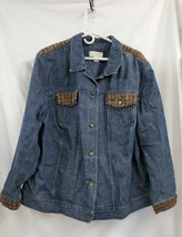 CJ Banks Plus Size Denim Button Front Jacket With Wool Blend Accents 2X ... - $30.91