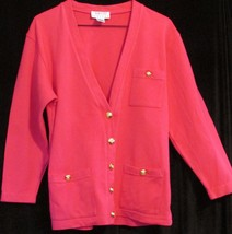 Talbots Womens Sz S Dark Pink Casual Classic 100% Cotton Knit Jacket Sw... - $29.69