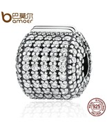 Buy Authentic 925 Sterling Silver Stopper Pave Barrel. Clear CZ Clip Cha... - $32.99