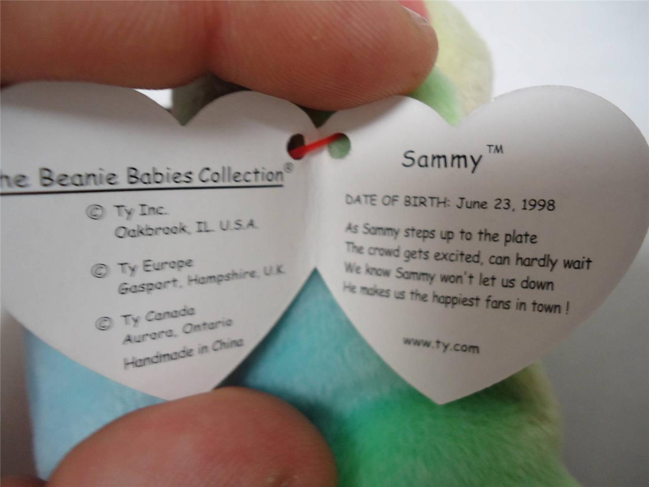 Ty Beanie Baby Bears with Tags Blackie 1994 and Sammy 1998 Lot of 2