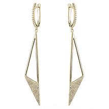 ZirconZ Cust-Pave Signity CZ Sterling Silver Open Triangle ArtDeco Hoop Earrings - $99.99