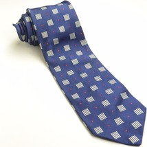 PAUL STUART 58L Navy Blue Red White Geometric Silk Mens Neck Tie - $89.10