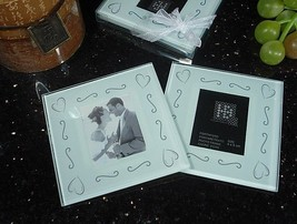 50 Sets of 2 Heart Glass Photo Coaster Bridal Wedding Favor Thank You Gift - $71.20
