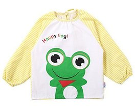 Cotton Cute Cartoon Frog Baby Bib Kids Painting Smock YELLOW (100-120CM Height)
