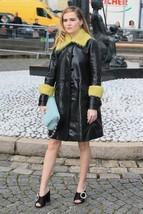Zoey Deutch Replica fur leather` Women's 100% Genuine Black Coat