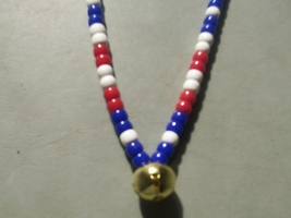FIRST CLASS ~ HORSE RHYTHM BEADS ~ RED, WHITE, BLUE ~ HORSE SIZE / 54 IN... - $17.00