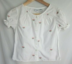 Gap Girls Short Sleeved Peasant Top Sz M Button Down White Floral Embroidery - $6.79