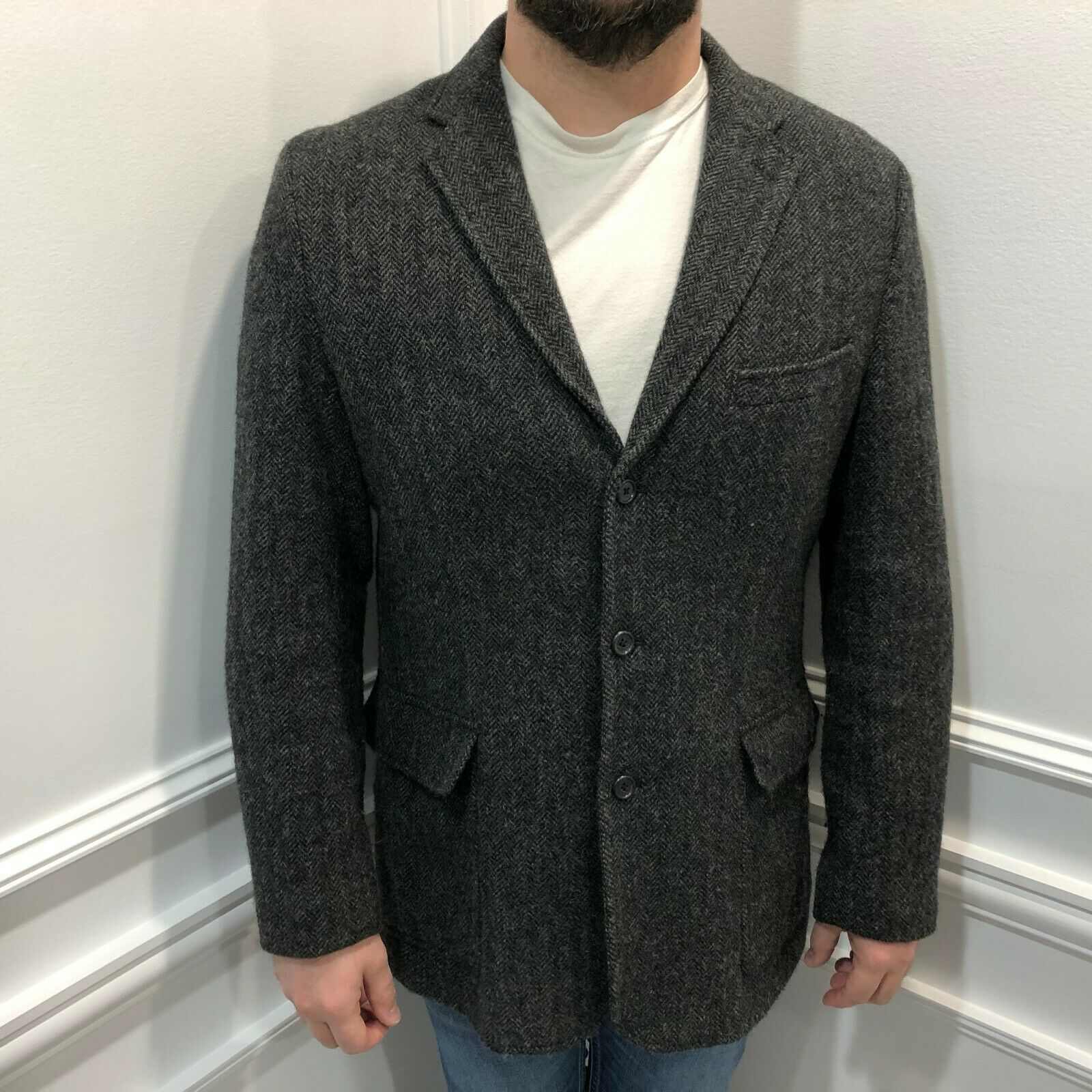 Primary image for J.Crew 42 Yorkshire Tweed Blazer Sport Jacket Moon Wool Grey England 85865