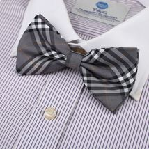 Men Grey Microfiber Pre-tied Bow Tie By Dan Smith Top Quality  - $18.64