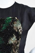 Fendi Black and Green Silk Blend Fox Fur Panel Embellished SS Dress SZ 42 image 4