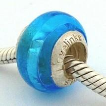 Lovelinks Pastiche Murano Glass Blue W/ Foil Stripe Bead Charm, New - $14.24