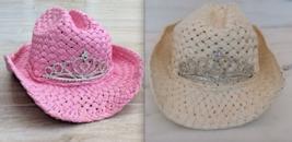 VTG White Pink PRINCESS CROWN COWGIRL HAT Western Costume dressup birthday - $24.00