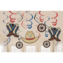 Amscan 670726 Party Supplies Western Value Pack Swirl Decorations, Multi... - $9.98