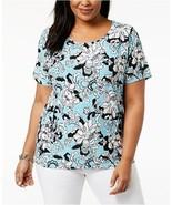 JM Collection Womens Floral Print Jacqaurd Short Sleeve Shirt Top Plus S... - $14.84