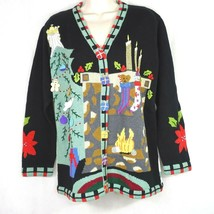 Storybook Knits Cardigan Sweater Christmas Holiday Women Size L Black Lo... - $59.39