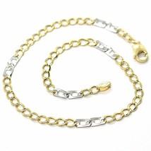 Armband Gelbgold und Weiß 18K 750, Curb Chain Damen und Doppelt Quadrate... - $224.39