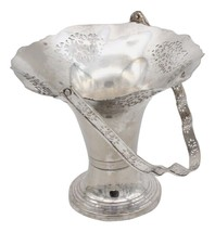 ANTIQUE VICTORIAN SILVERPLATE Bread Bride BASKET VASE PIERCED LACE EDGE ... - $44.99