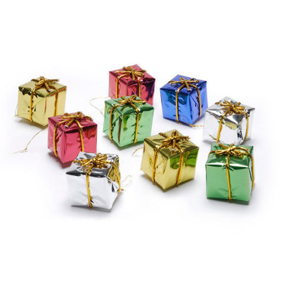 HOLIDAY CRAFT SUPPLY Foil Gift Boxes - Assorted Colors 1.5 inches - 9pc #1628-75