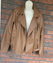 Faux Leather Bomber Jacket Medium Coffee Brown Lined Coat Zippers Collar... - $19.60