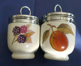 "Royal Worcester Peach & Berry Single Egg Coddler 2.5"" Chrome Lid Pair - $23.56"