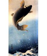 Leaping Carp 30x44 Japanese Print Koson Asian Art Japan Hand Numbered Lt... - $98.99