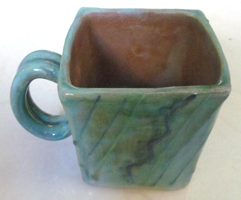 "Handmade Earthworks Ceramic Pottery ""Blue Otis"" Square Mug Barbados by Goldie Sp"