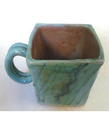 "Handmade Earthworks Ceramic Pottery ""Blue Otis"" Square Mug Barbados by G... - $31.19"