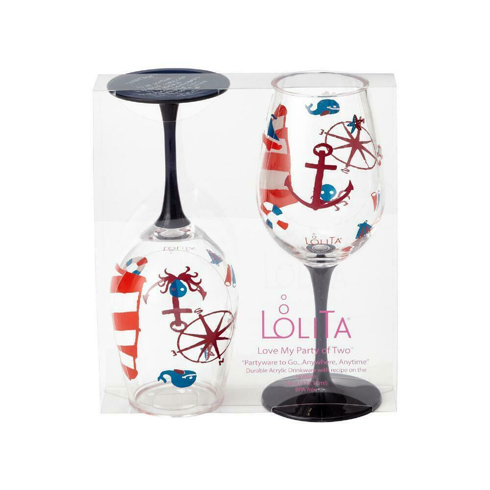 """Designs by Lolita"" Acrylic Wine Glass Maritime Set of 2 - 16 oz Boat, Hot Tub"