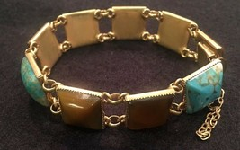 Vintage PIERRE CARDIN Link Bracelet With Turquoise & Amber Cabochons - G... - $138.25