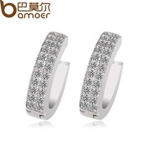 BAMOER White Gold Color Stud Earrings for Women with Swiss Cubic Zircon ... - $8.14