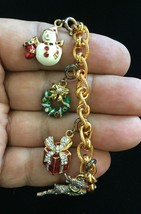 CHRISTMAS CHARM BRACELET in Gold Vermeil 925 Sterling Silver - 7 1/4 inches - $85.00