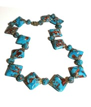 VINTAGE ITALY ART TURQUOISE BLUE & COPPER BROWN ART GLASS ANTIQUE NECKLACE - $80.00