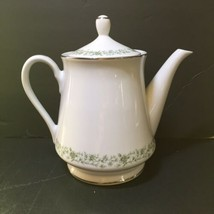 """Coffee Tea Pot Montclair Mikasa G 9059 7.75"""" Tall Green Floral Vine - $24.18"""